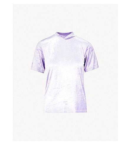 MO&CO. Cut-out velvet top (Paisley+purple