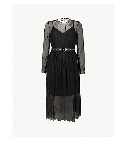 MO&CO. Belted floral-lace dress (Black