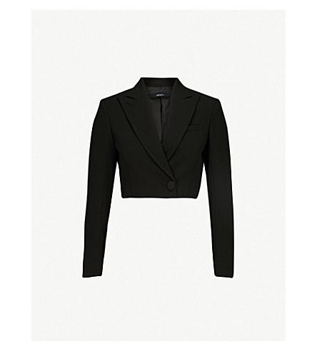 MO&CO. Cropped tuxedo-style wool-blend jacket (Black