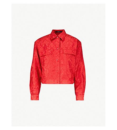 MO&CO. Jacquard-weave lightweight trucker jacket (Windsor+wine