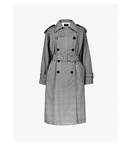 MO&CO. Checked wool-blend trench coat (Black+and+white
