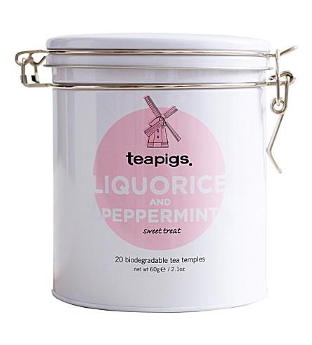 TEAPIGS Tin of 20 liquorice and peppermint tea temples