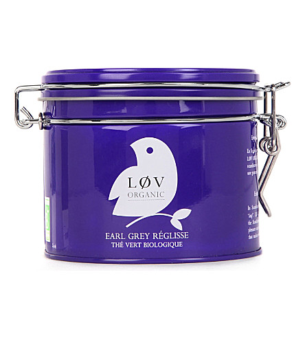 LOV ORGANIC Løv liquorice Earl Grey loose tea caddy 100g