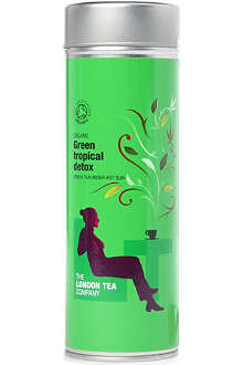 LONDON TEA Organic Green Tropical Detox pyramid tea bags tin 30g