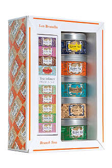 KUSMI TEA Brunch Teas gift set with tea infuser 5x25g