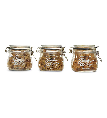 SNAFFLING PIG Mini jar pork scratching selection 3 x 100g