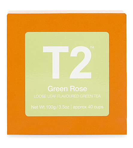 T2 Green Rose loose leaf flavoured green tea 100g