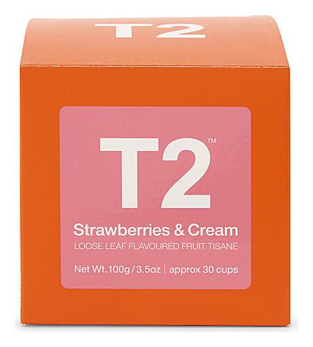 T2 Strawberries & Cream loose leaf tea cube 100g