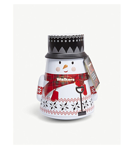 WALKERS Wobbly snowman mini shortbread stars tin 200g