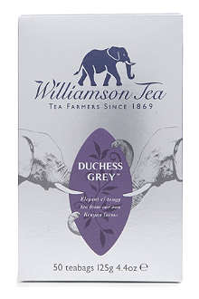 WILLIAMSON TEA Duchess Grey tea bags 125g