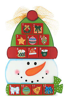 NONE Wooden snowman advent calendar with sweets