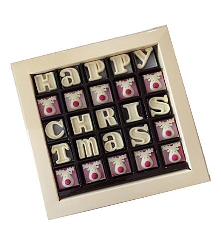 CHOC ON CHOC Happy Christmas message chocolates box