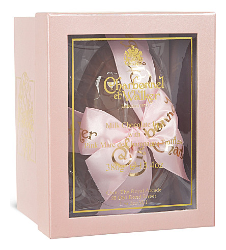 CHARBONNEL ET WALKER Milk chocolate egg with pink marc de champagne truffles 380g