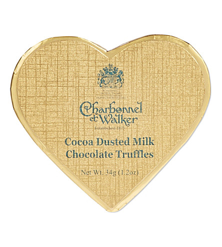 CHARBONNEL ET WALKER Gold heart cocoa dusted truffles 34g