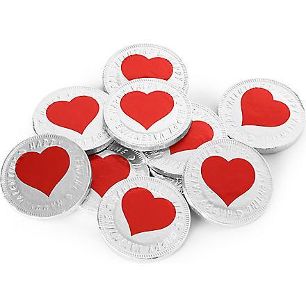 Valentines heart chocolate coins 50g