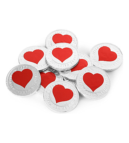 Valentines heart chocolate coins 50g