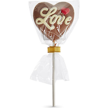 Love heart chocolate lolly 30g