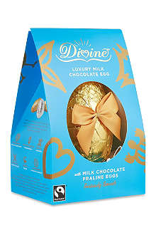 Milk chocolate egg with praline eggs