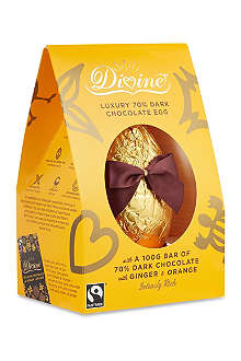 DIVINE CHOCOLATE Dark chocolate egg and ginger and orange chocolate bar