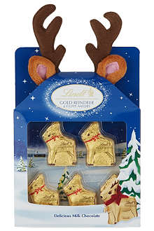 LINDT Gold Reindeer chocolates with fluffy antlers