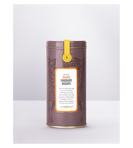 SELFRIDGES SELECTION British orange dark chocolate biscuits tin