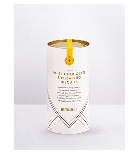 SELFRIDGES SELECTION Festive white chocolate & pistachio biscuit thins 170g