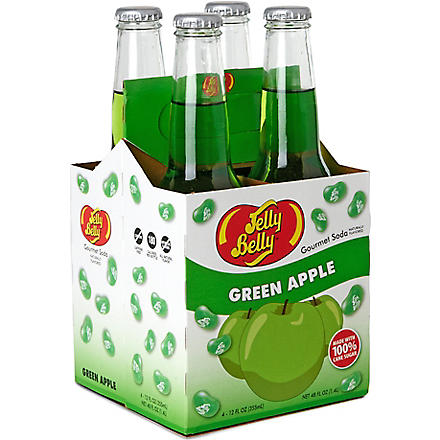 JELLY BELLY Pack of four Green Apple soft drinks 355ml