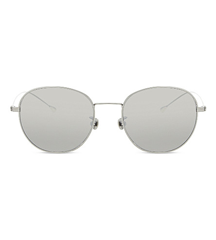 ANN DEMEULEMEESTER AD28 round-frame sunglasses (Blue+and+silver