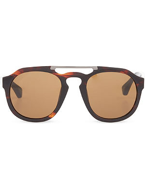 DRIES VAN NOTEN Oxblood horn acetate sunglasses