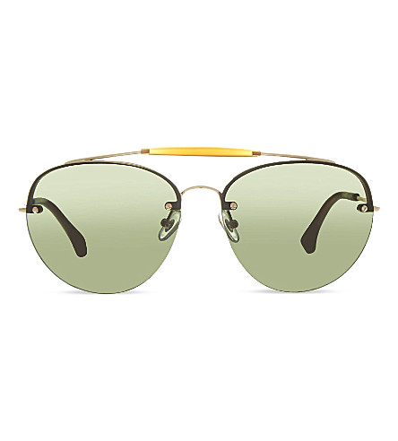 DRIES VAN NOTEN Exclusive DVN70 double bridge aviators (Gold&tabaccogradient