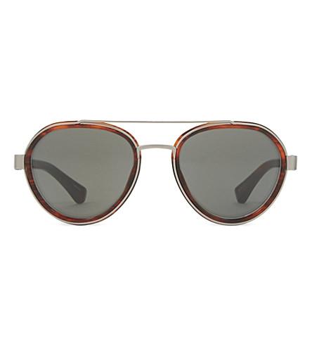 DRIES VAN NOTEN DVN82 aviator sunglasses (Bordeaux+&+silver