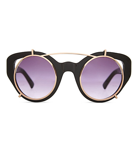 ERDEM EDM54 cat-eye clip-on sunglasses (Black