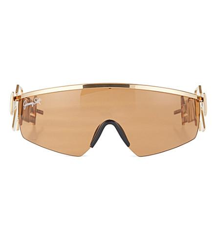 JEREMY SCOTT Shiny lens machine gun sunglasses (Gold