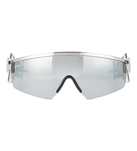 JEREMY SCOTT Shield lens machine gun sunglasses (Silver