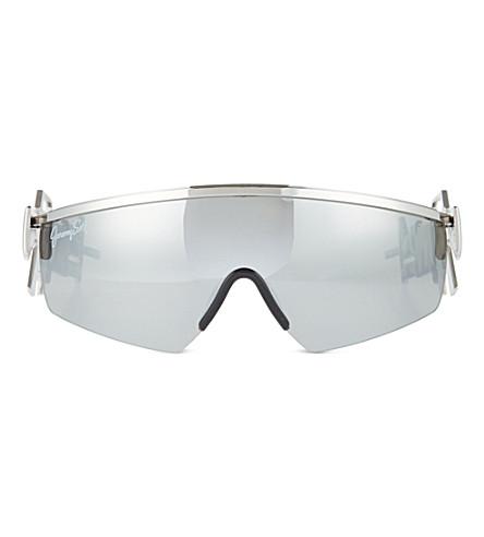JEREMY SCOTT Shield lens machine gun sunglasses (Silver