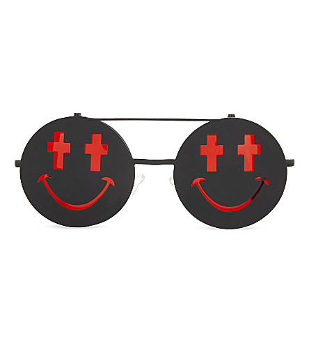 JEREMY SCOTT Smile round-frame sunglasses (Black