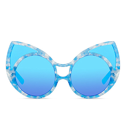 KHALEDA RAJAB+FAHAD ALMARZOUQ KR1C7 pointy cat-eye sunglasses (Blue+tortoise+shell