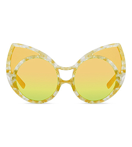 KHALEDA RAJAB+FAHAD ALMARZOUQ KR1C8 pointy cat-eye sunglasses (Lemon+tortoise+shell