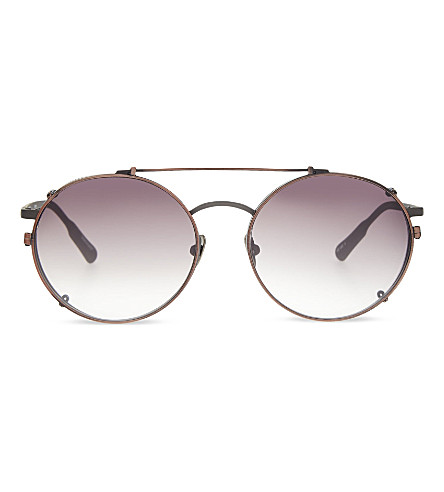 KRISVANASSCHE KVA70 Unique circular combination aviator sunglasses (Matt grey