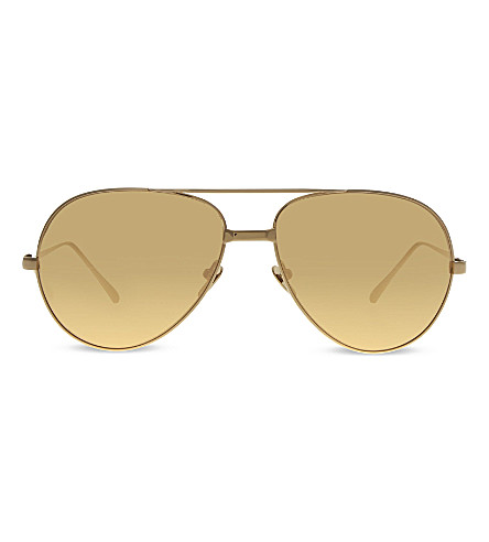 LINDA FARROW LF128 Classic mirrored aviator sunglasses (Yellow+gold