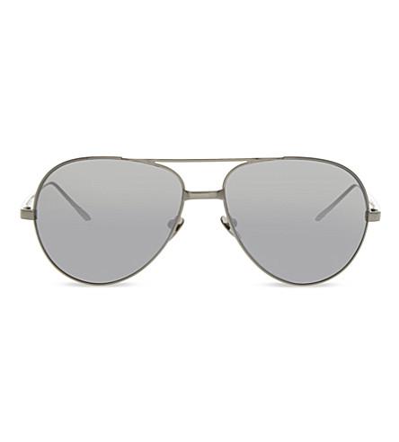 LINDA FARROW LF128 Classic mirrored aviator sunglasses (White+gold
