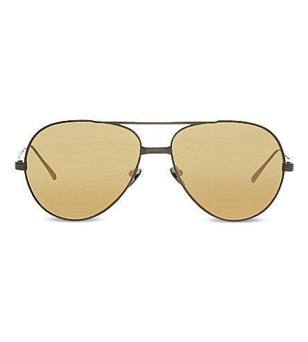 LINDA FARROW LF128 Classic mirrored aviator sunglasses (Nickel+&+gold