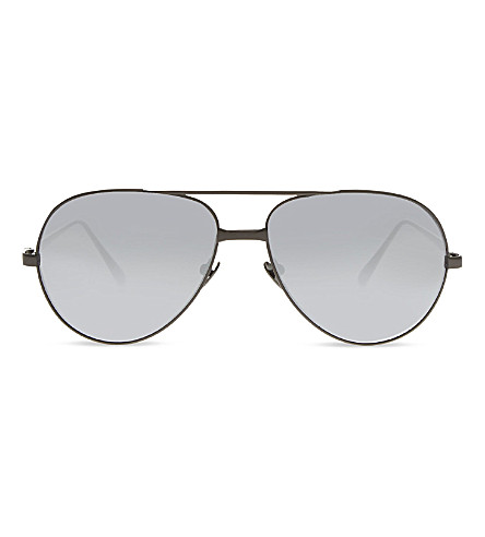 LINDA FARROW LF128 Classic mirrored aviator sunglasses (Nickel+and+platinum