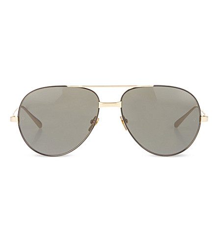 LINDA FARROW Aviator sunglasses (Black+&+gold