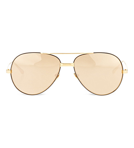 LINDA FARROW 24 carat gold lens aviator sunglasses (Gold+&+gold+lens