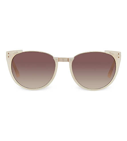 LINDA FARROW Milky cut frame sunglasses (Milky pink