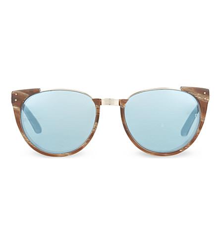 LINDA FARROW LFL136 dark hornrim mirror lens sunglasses (Horn & mirror lens