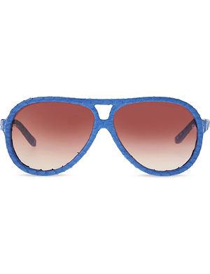 LINDA FARROW LFL149C10 snakeskin aviator sunglasses