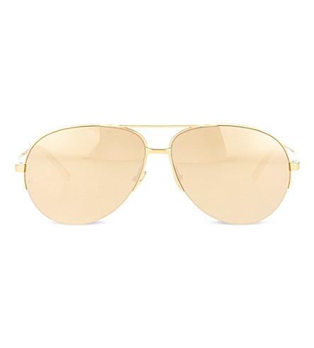 LINDA FARROW 24 carat gold aviator sunglasses (Gold & gold lens