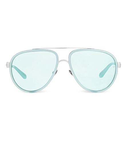 LINDA FARROW LFL165 aviator sunglasses (White gold & mint